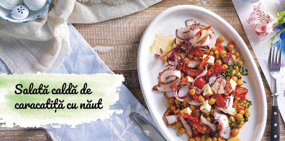 Salată caldă de caracatiță cu năut