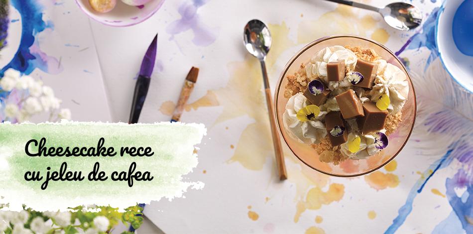 Cheesecake rece cu jeleu de cafea