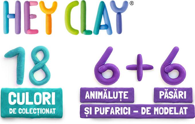 Hey Clay 18 culori de colecționat 6 animăluțe + 6 păsări și pufarici de modelat