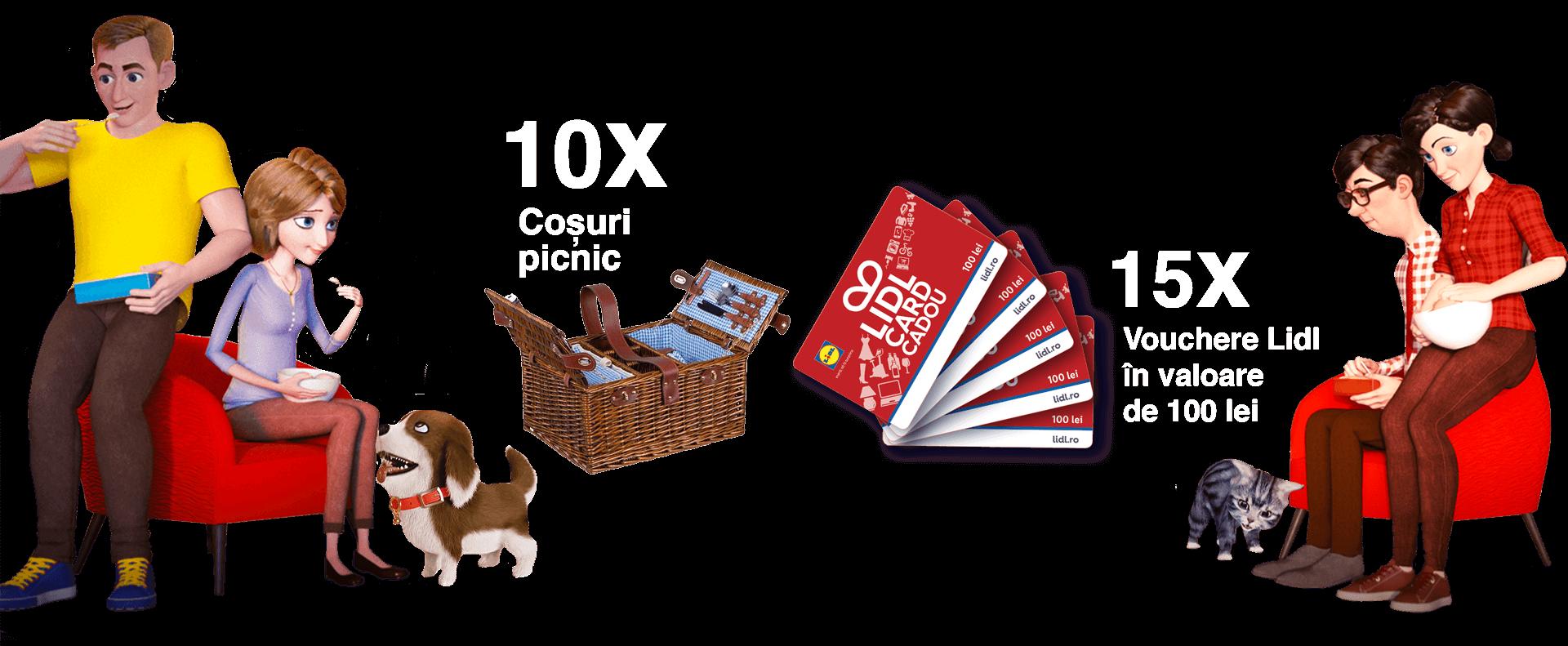 10 X coșuri picnic, 15 X Vouchere Lidl în valoare de 100 lei