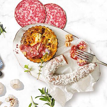 Quiche cu salam franțuzesc și salam de sibiu
