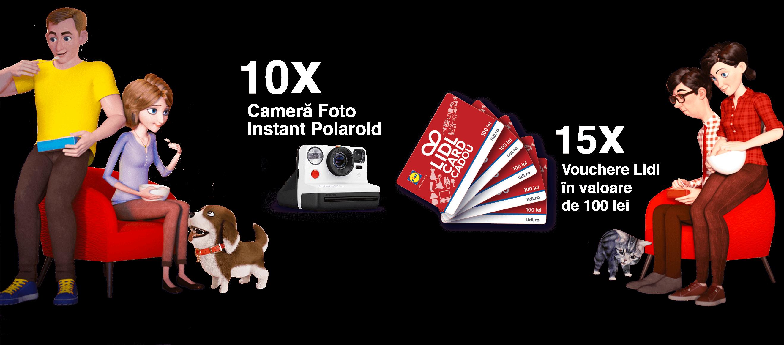 10 X cameră foto instant polaroid, 15 X Vouchere Lidl în valoare de 100 lei