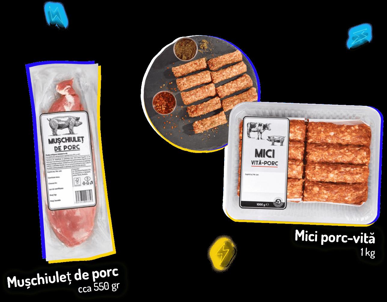 Mușchiuleț de porc cca 550 gr, Mici porc-vită 1kg