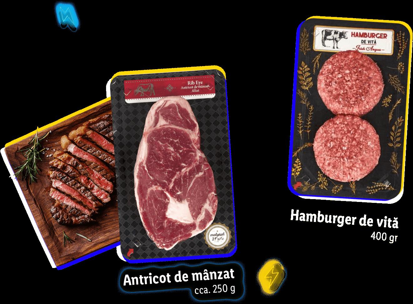 Antricot de mânzat cca. 250g, Hamburger de vită 400gr