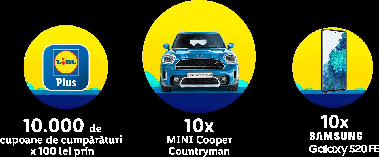 10x MINI Cooper Countryman, 10.000 de cupoane de cumpărături x 100 lei, 10x Samsung Galaxy S20 FE