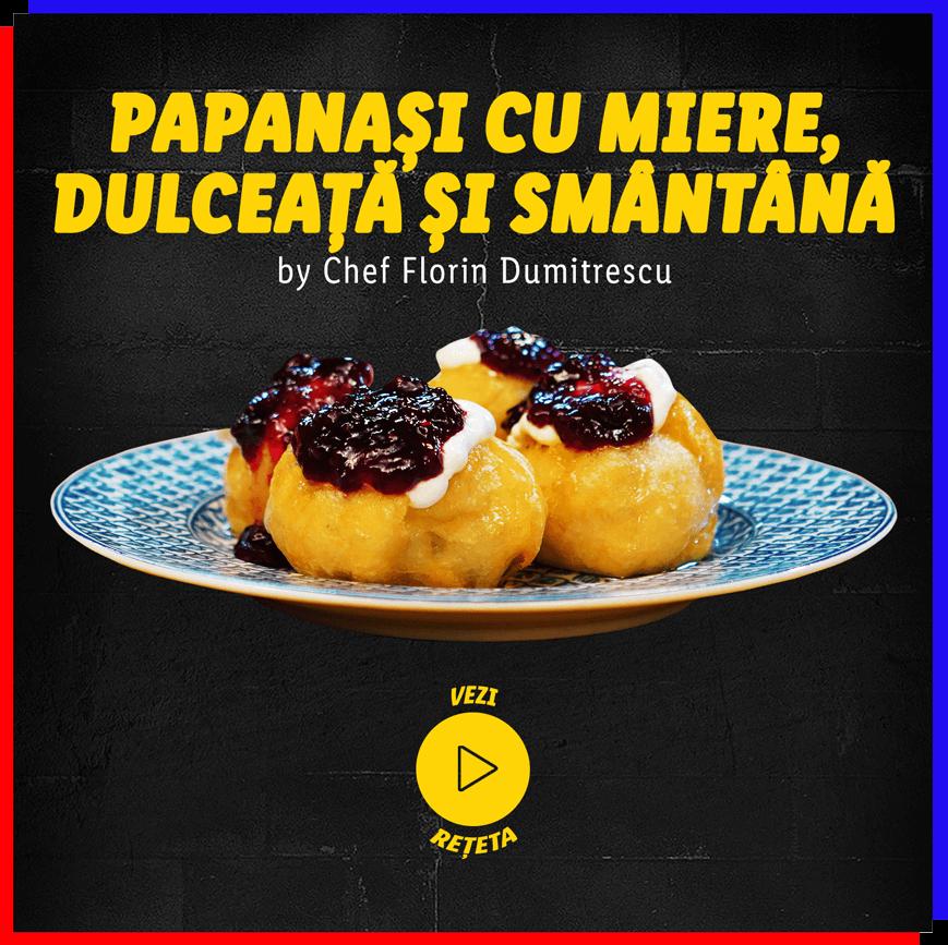 Papanași cu miere, dulceață și smântână by Chef Florin Dumitrescu